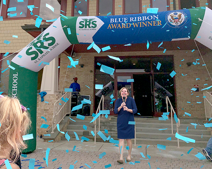 SRS Principal Teri Dwyer at Blue Ribbon celebration