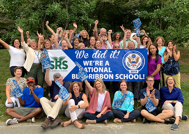 Staff members celebrating National Blue Ribbon