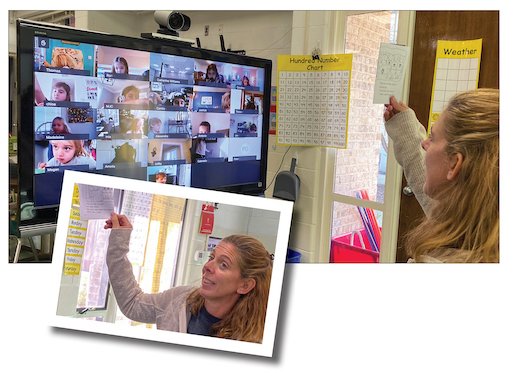 Teacher instructing virtually in front of screen showing students learning from home