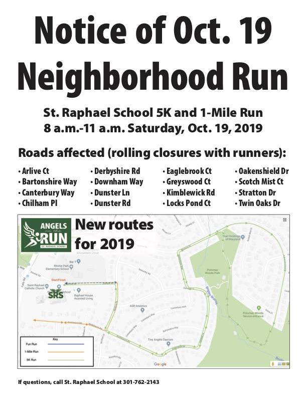 Notice with list of road closures