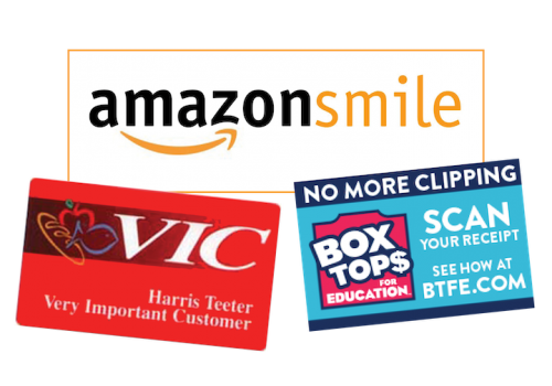 Box Tops, Amazon, Harris Teeter logos