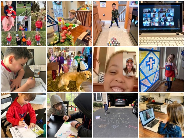 Thumbnail photos of students engaged in remote learning